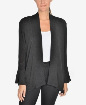 NY Collection Draped Bell-Sleeve Cardigan
