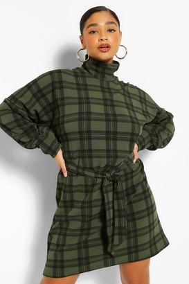 boohoo Plus Check High Neck Belted Shift Dress