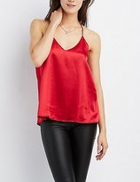 Charlotte Russe Satin V-Neck Tank Top