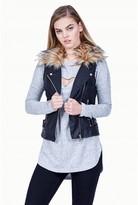Select Fashion Fashion Womens Black Fur Collar Pu Gilet - size 16