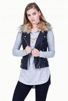 Select Fashion Fashion Womens Black Fur Collar Pu Gilet - size 6