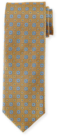 Canali Alternating Flowers Silk Tie, Yellow