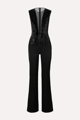Galvan Lena Tulle-trimmed Sequined Crepe Jumpsuit - Black