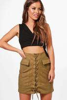 boohoo Petite Molly Lace Up Front Utility Skirt