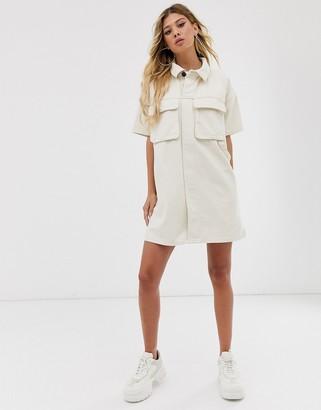 Asos Design DESIGN denim boxy shirt dress in ecru-White