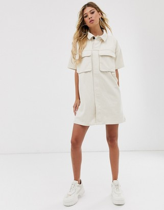 ASOS DESIGN denim boxy shirt dress in ecru