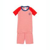 Petit Bateau Boy's Snug Fit Short Pajamas In Ribbed Cotton With A Silkscreen Emblem