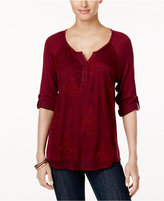 Style&Co. Style & Co Embroidered Split-Neck Top, Only at Macy's