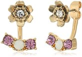 """lonna & lilly Sun Showers"""" Worn Gold-Tone and Purple Flower Floater Earrings"""