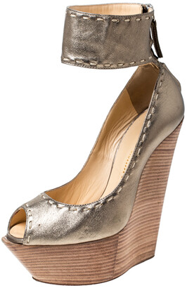 Giuseppe Zanotti Metallic Gold Leather Wedges Platform Ankle Cuff Sandals Size 37