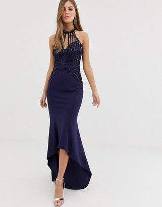 Lipsy high neck maxi dress with lace placement in navy