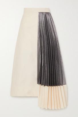 ARTCLUB - Hermes Asymmetric Pleated Cotton And Lame Midi Skirt - Ecru