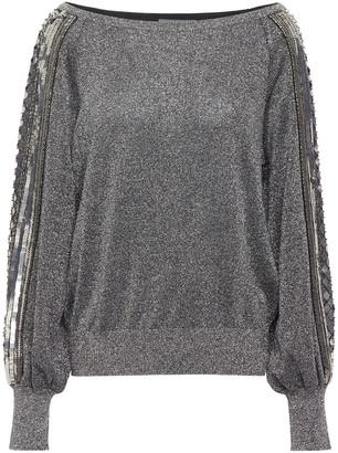 Alberta Ferretti Embellished Metallic Knitted Sweater
