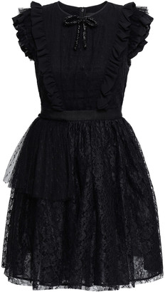 MSGM Ruffled Point D'esprit And Lace Mini Dress