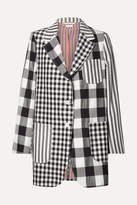 Thom Browne Oversized Printed Wool, Mohair And Silk-blend Blazer - Midnight blue