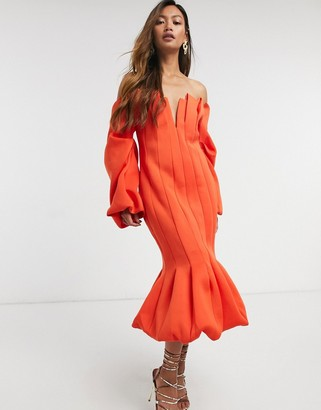 ASOS DESIGN Premium seamed and boned step neck high low structured midaxi dress in orange