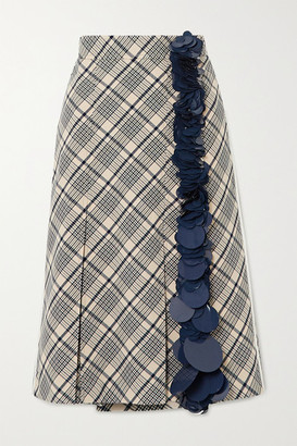 Prada Sequin-embellished Checked Wool Midi Skirt - Ivory