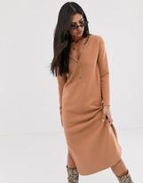 Asos Design DESIGN button detail super soft midi dress with side splits