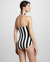 Norma Kamali Striped Halter Maillot Swimsuit