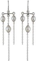 Majorica Tiered Triple-Pearl Chandelier Earrings, White