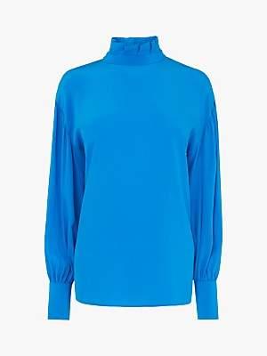 LK Bennett L.K.Bennett Chapelle High Neck Silk Blouse, Turquoise