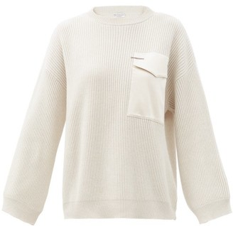 Brunello Cucinelli Silk-satin Patch Pocket Ribbed Cashmere Sweater - Cream