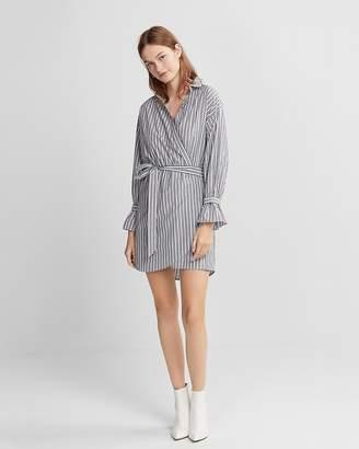 Express Striped Cotton Poplin Wrap Dress