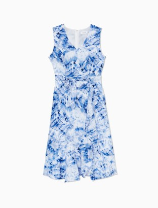 Calvin Klein Printed V-Neck Sleeveless Belted Ruffle Dress