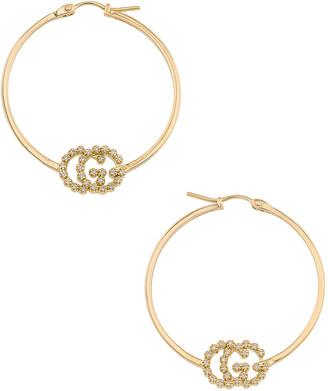 Gucci Running G Hoop Earrings in Yellow Gold & Diamonds   FWRD