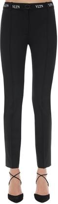 Valentino Vltn Belt Stretch Wool Skinny Pants