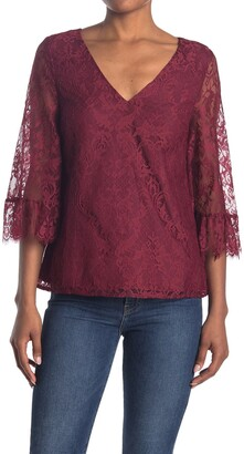 ModCloth V-Neck Bell Sleeve Lace Blouse