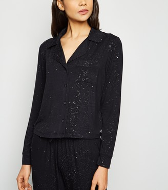New Look Glitter Revere Collar Pyjama Top