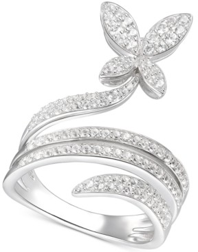 Macy's Diamond Butterfly Statement Ring (3/4 ct. t.w.) in 14k White Gold