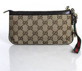 Gucci Brown Gold Tone Hardware Logo Print Keychain Detail Zipper Clutch Handbag