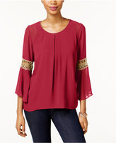 NY Collection Petite Crochet-Sleeve Top