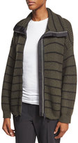 Brunello Cucinelli Striped Knit Zip-Front Cashmere Sweater, Green