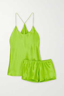 Olivia von Halle Bella Silk-satin Pajama Set - Lime green