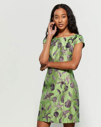 Save the Queen Green Lurex Clam & Starfish Sheath Dress