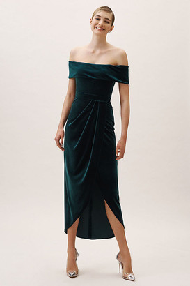 BHLDN Edison Velvet Dress By in Green Size 16