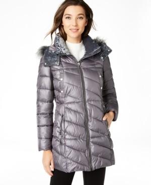 Andrew Marc Velvet-Trim Faux-Fur Hooded Puffer Coat