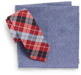Original Penguin Alonso Plaid Tie & Chambray Pocket Square Gift Set