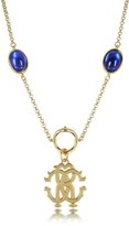 Roberto Cavalli RC Line Gold Tone Pendant Necklace w/Deep Blue Stones
