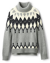 Classic Girls Turtleneck Sweater-Gray Heather Marl Fairisle