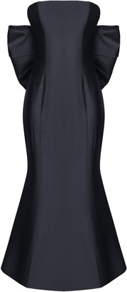 Rasario Bow-Embellished Silk Corset Midi Dress