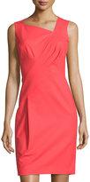 Lafayette 148 New York Melanie Pleated Sleeveless Sheath Dress, Tango Red