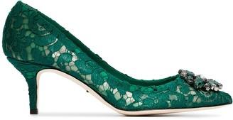 Dolce & Gabbana green Bellucci 60 lace crystal pumps