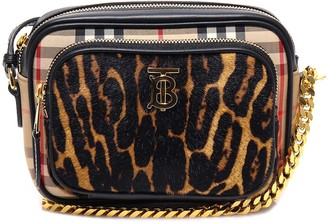 Burberry Vintage Check Leopard Print Camera Bag