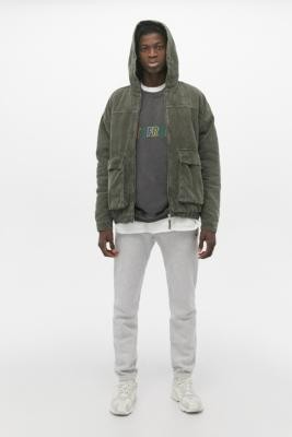 Urban Outfitters Seafoam Corduroy Zip-Through Hooded Skate Jacket - green S at