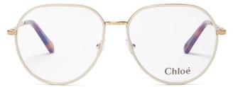 Chloé Filligree-engraved Metal Aviator Glasses - Gold