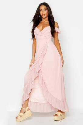 boohoo Chiffon Cold Shoulder Ruffle Skater Dress